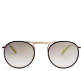 Garrett Leight Cordova leather round-frame sunglasses