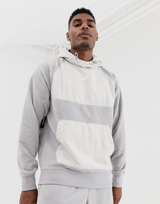 Nike winter hoodie with nylon panels in gray