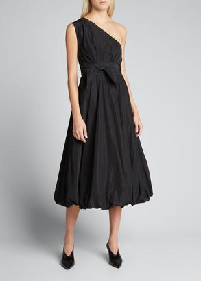 Tibi Taffeta One-Shoulder Midi Dress