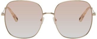 Chloé Rose Gold and Pink Metal Square Sunglasses