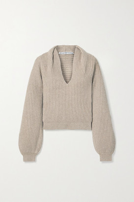 Alexander Wang Ribbed Wool-blend Sweater - Mushroom