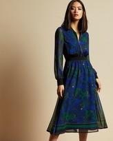 Ted Baker Stargaze Zip Front Rib Cuff Midi Dress