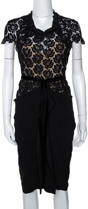 Roland Mouret Black Crepe & Lace Draped Harmon Dress M