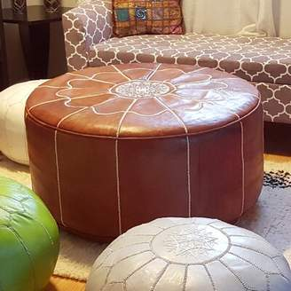 Bungalow Rose Rummel Giant Moroccan Leather Pouf