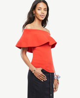 Ann Taylor Home Sweaters Off The Shoulder Ruffle Sweater Off The Shoulder Ruffle Sweater