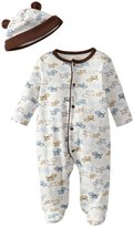 Little Me Cute Puppies Footie & Hat (Baby) - White Print-9 Months