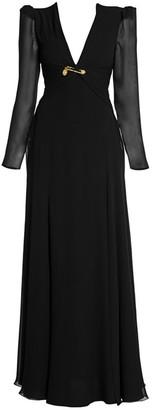 Versace Long Silk Slit Evening Gown