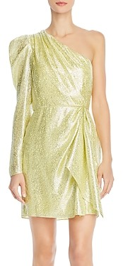 ML Monique Lhuillier One-Shoulder Metallic Dress