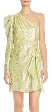 ML Monique Lhuillier One-Shoulder Metallic Dress