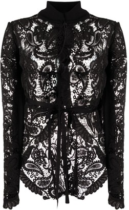 Ann Demeulemeester Lace Cropped Jacket