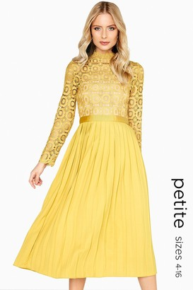 Little Mistress Petite Alice Mustard Crochet Top Midaxi Dress With Pleated Skirt