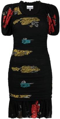 Ganni Floral Print Ruched Mini Dress