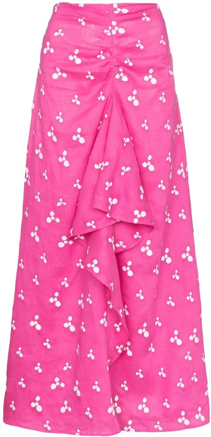 All Things Mochi Ola printed linen midi skirt