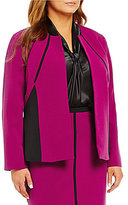 Kasper Plus Stretch Crepe Colorblock Open Front Jacket