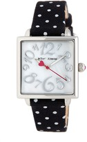 Betsey Johnson Women's Squared Polka Dot Canvas Watch