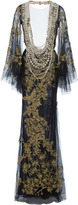 Marchesa Pearl Necklace Embroidered Gown