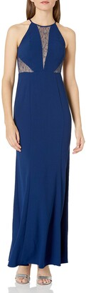 Aidan by Aidan Mattox Women's Halter Crepe and Lace Gown