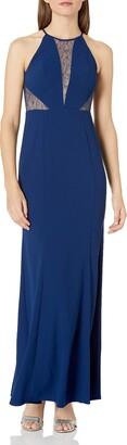 Aidan Mattox Aidan Women's Halter Crepe and Lace Gown