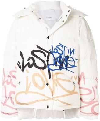Ports V graffiti-print padded jacket