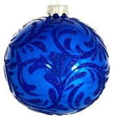 Wise Elk Christmas Ornament Glass Ball Hand Blown Hand Painted Snow Queen, Blue 4""