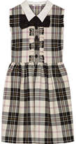 Miu Miu Bow-embellished Tartan Wool Mini Dress - White
