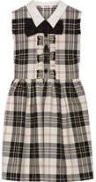 Miu Miu Bow-embellished Tartan Wool Mini Dress