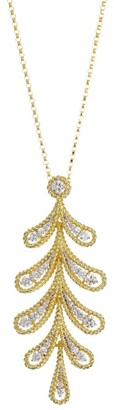 Roberto Coin Byzantine Barocco 18K Yellow Gold & Diamond Laurel Leaf Pendant Necklace