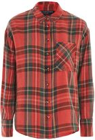 Topshop PETITE Washed Tartan Check Shirt
