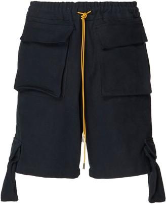 Rhude Black Oversize Cargo Shorts