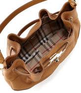 Burberry Medium Leather Shoulder Hobo Bag, Camel