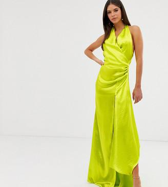 Asos DESIGN Tall halter maxi dress in high shine satin with drape neck
