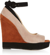 Paul Andrew Whitney color-block suede wedge sandals