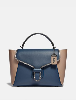 Coach Courier Carryall In Colorblock Leather With Snakeskin Detail