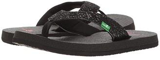 Sanuk Yoga Glitter (Little Kid/Big Kid) (Black) Girls Shoes