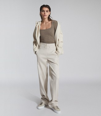 Reiss BEA SQUARE NECK JERSEY TOP Neutral