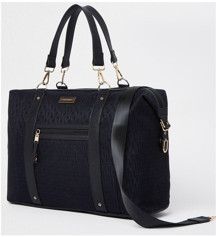 Thumbnail for your product : River Island Black Jacquard Holdall