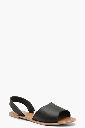 boohoo Wide Fit 2 Part Peeptoe Leather Sandals
