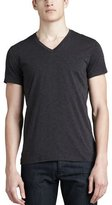 Theory V-Neck Silk-Cotton T-Shirt, Charcoal