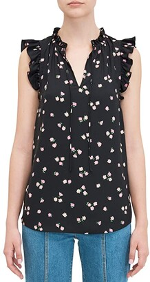 Kate Spade Ditsy Begonia Tie Neck Shell (Black) Women's Clothing