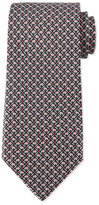 Salvatore Ferragamo Elephant-Print Silk Tie, Gray/Pink