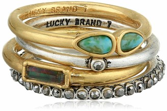 Lucky Brand Pave Turqouise Ring Stack