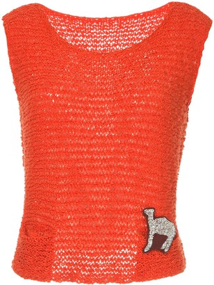 Onefifteen Camel Embroidered Knitted Vest