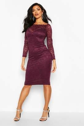 boohoo Slash Neck Lace Midi Bodycon Dress