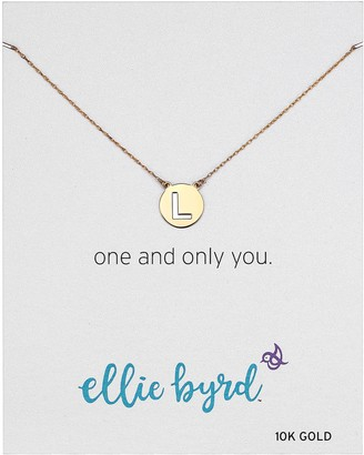 """Amazon Collection ellie byrd 10k Gold Two Tone Initial """"H"""" Disc Necklace 18"""""""