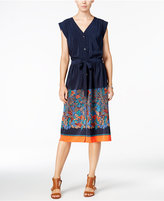 Tommy Hilfiger Cap-Sleeve Border Shirtdress, Only at Macy's