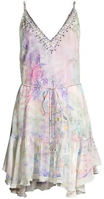 Camilla Mother Print Silk Ruffled Mini Dress