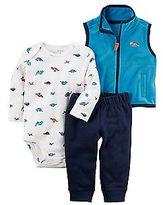 Carter's Baby Boy Dinosaur Bodysuit, Fleece Vest & Pants Set