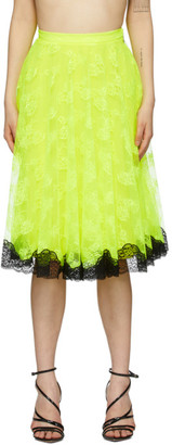 Christopher Kane Yellow Lace Midi Skirt