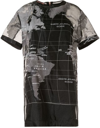 Sacai map-print T-Shirt dress