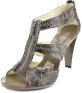 MICHAEL Michael Kors Michael Kors Berkley T-Strap Sandal Platform/Heel Cincer Brown-Grey Snake Shoe